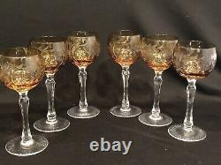 Bohemian Czech Cut to Clear Golden Amber Hock Wine Goblet Glasses Set of 6