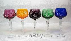 Bohemian Czech Set of 5 Multi Color Cut to Clear Crystal Wine Goblets