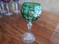 Bohemian Multi Color Cut to Clear Crystal Wine Goblets Set of Nine