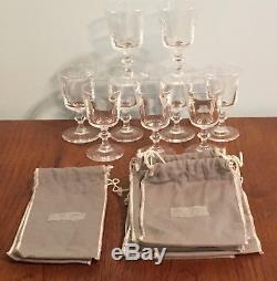 Boxed Set 9 Steuben Hand Blown Crystal Amorial Wine Glasses Felts 2 of 4