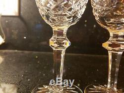 Brilliant Waterford Ireland Cut Crystal Powerscourt Wine Glasses Set of 6 Gothic