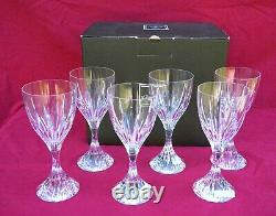 CHRISTOFLE Paris 6 Water Cut Crystal Glasses CATHEDRALE New Tag Boxed