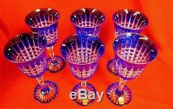 CRISTAL d'ARQUES PAVANE COBALT cut to CLEAR CRYSTAL WINE GLASSES Set of 6