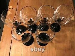 Christian Dior Casablanca Black Cat Panther Stemmed Water Glasses Glass 1995