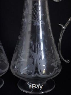 Christofle Collection Gallia and Baccarat crystal Pair of wine decanters ewers