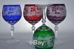 Crystal glass Wine glasses set of 6 from Poland Engraved HANDMADE Mix Color