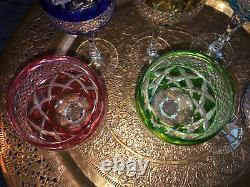 Crystal set of 6 coloured Hock Wine Glass / Glasses 7.5 high