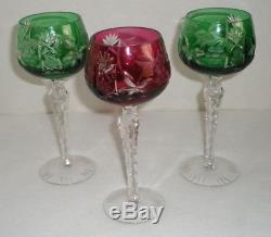 Czech Bohemian Wine Glasses Set of 6 Cut Crystal 7-1/2 Tall Red Green Blue