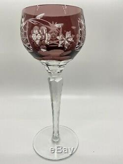 Czech Multi Color Cut To Clear Bohemian Glass 8 1/4 Wine Glasses Set of 6