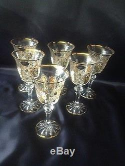 Czech bohemia crystal glass Wine glasses 17cm 6pc decorated gold