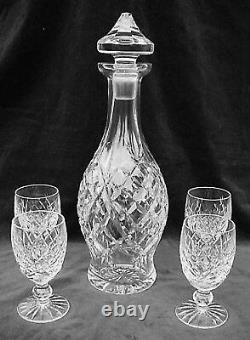 DECANTER & 4 WINE GLASSES DONEGAL by WATERFORD CRYSTAL