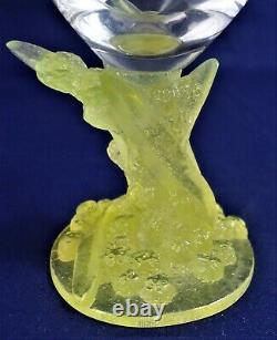 Daum France Nancy Crystal wine glass Mimosa Pate de Verre Yellow Base A25/38