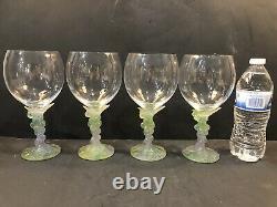 Daum Pate De Verre Pastel Grape Motif Large Wine Glass Mint withBox 4 Available