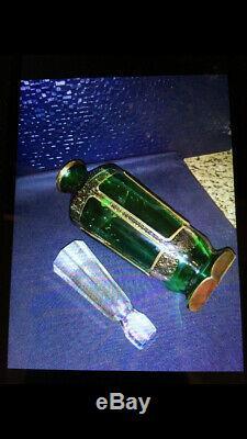 Decanter Moser Bohemian Decanter 1 Green Cut Wine Liquor Crystal Decanter