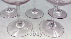 Dorothy Thorpe 5 Crystal Iridescent Amethyst Glass Stemware Wine Hock Glasses