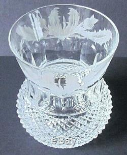EDINBURGH CRYSTAL THISTLE PATTERN 3 WHISKY GLASSES VINTAGE (Ref5726)