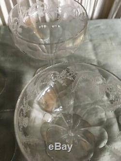 Early 1900s 5 1/8 stemware champagne wine coupes etched unsigned 13