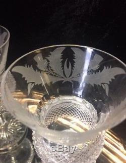 Eight Stunning Edinburgh Crystal Thistle Pattern Large Wine Glasses, Never Used