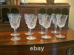 Eight Waterford Crystal Lismore Claret Wine Glasses