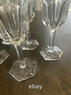 Elegant Baccarat Crystal Malmaison Set of 5 Cut Crystal Wine Glasses
