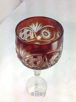 Elegant Six Bohemian Cut to Clear Lead Crystal Wine Glasses Hocks Colorful