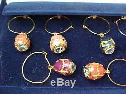 FABERGE Set of 10 Enamel Egg & Crystal Wine Glass Charms / Markers Velvet Box