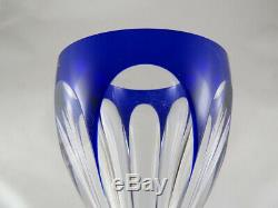 FINE FRENCH Baccarat CRYSTAL GLASS COBALT BLUE Harcourt Rhine SET OF 12 GLASSES
