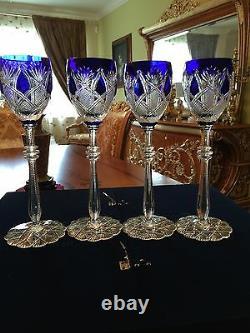 Faberge Czar Imperial Wine Glass Goblet Set Of 4 Cased Crystal, Signed