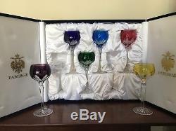Faberge Lausane Crystal Wine Hock signed wine glasses set, never used