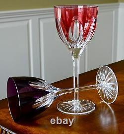 Faberge Regency Wine Glass Goblets, 9h, Nib, Multi-color Cased Crystal