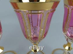 Fine Moser Bohemian Cut Cranberry Cabochon Gilt Decorated Wine Glass Set of Four
