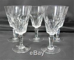 Five (5) BACCARAT Crystal Carcassonne Claret Wine Stem Glasses c. 1970 MINT