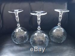 Fostoria Glass Navarre Azure Blue Crystal Magnum Balloon Wine Goblet Beautiful