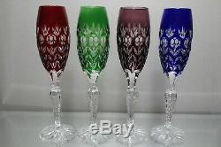 Four (4) AJKA Florderis Bohemian Cut to Clear Wine Crystal Champagne Flutes MINT