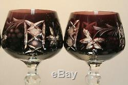 Four (4) Amethyst Cut To Clear Crystal Wine Hocks Lausitzer Nachtmann Traube