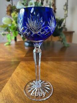 Four AJKA Caroline Crystal Cut to Clear Balloon Wine Goblets 8 3/8
