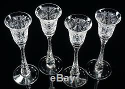 Four Hawkes Cut Glass Clarendon Stems 6 3/8 Tall Cordial Glasses