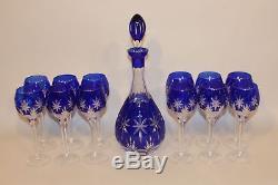 Franklin Crystal Horst Belda Cobalt Cut to Clear Glass Decanter & 12 Wine Hocks