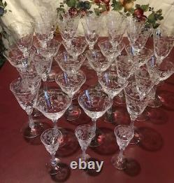 GORGEOUS CRYSTAL Fostoria Blossom pattern lot etched glass SET OF 33