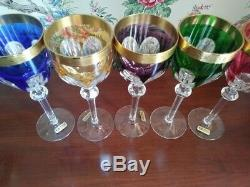 German Tharaud set of 5 Muticolor Cased Cut to Clear Crystal Wine Glasses