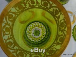 Glass Roemers color Chartreuse Hocks in crystal St-Louis Thistle gold 8.2 inch
