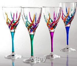 Glassware Venetian Carnevale Wine Glasses Set Of Four Hand Painted Crystal
