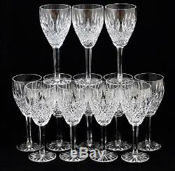 Group of 12 Waterford Castlemaine Claret Wine Glasses Clear Crystal Sided Stem