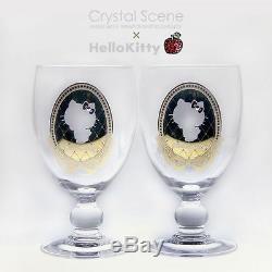 Hello Kitty Pair Wine Glass Cup Swarovski sanrio & Crystal Scene Ribbon frame