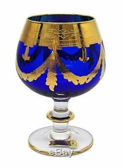 Interglass Italy Set of 6 Glasses Royal Blue Crystal Whisky DOF, 24K Gold