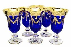 Interglass Italy Set of 6 Glasses Royal Blue Crystal Wine Goblets, 24K Gold