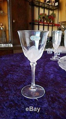 JG Durand Crystal set lot glasses, plates, wine glasses, serving platter