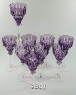 John WALSH WALSH Crystal Purple Coloured Hock WINE Glasses Set of 9