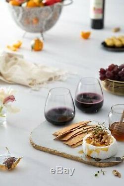 JoyJolt Black Swan Stemless Red Wine Glasses, 18.2 Oz Set of 4