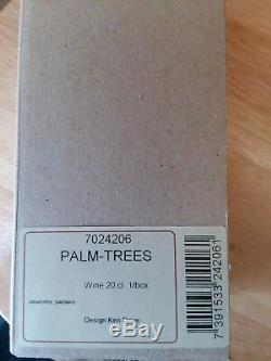 Kosta Boda Palm Trees Wine Glass New in Box, with sticker signed